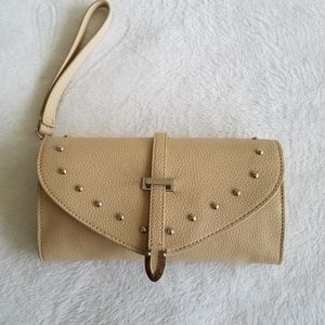 Express Cream Wristlet Bag With Silver Studs